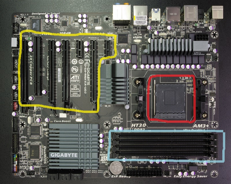 Motherboard areas shown