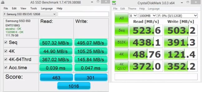 samsung evo 850 120gb benchmark performance