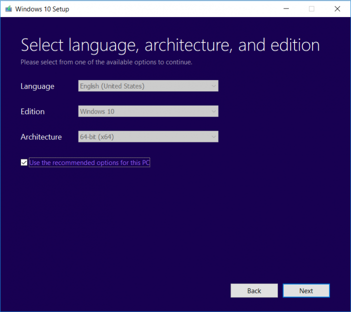 Windows-10-media-tool-architecture-settings